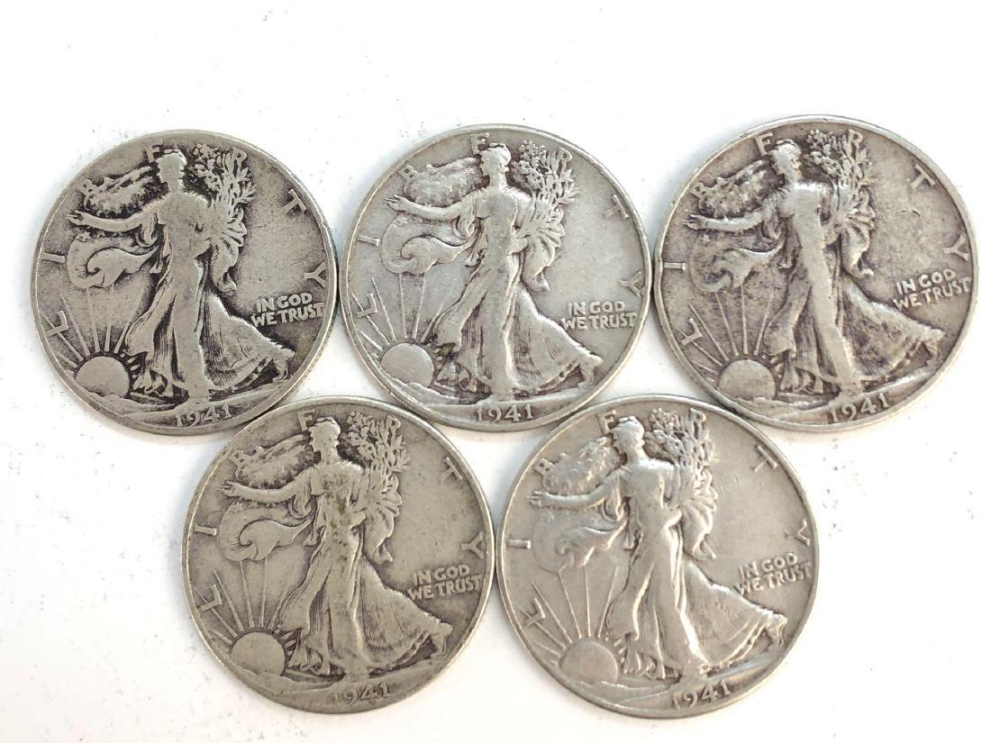 Lot Of Five 1941 Walking Liberty Half Dollars