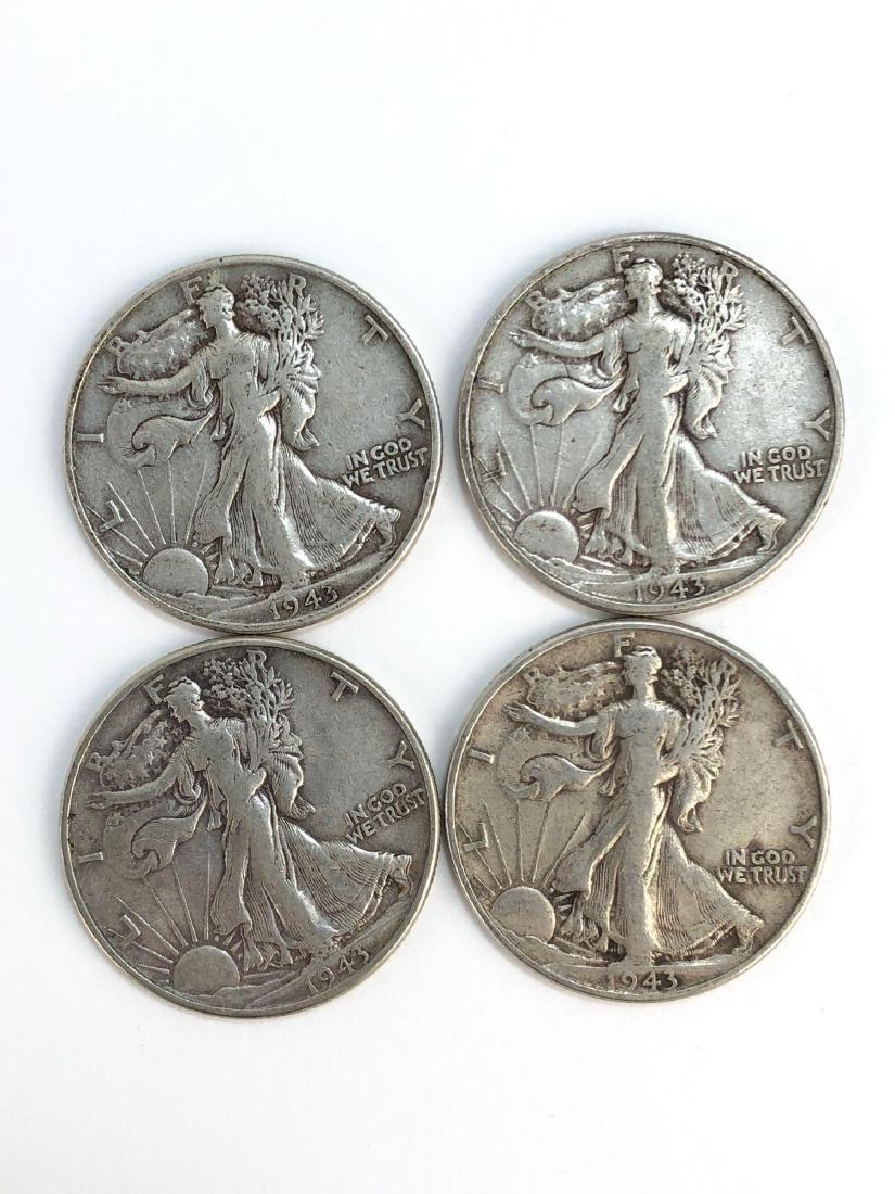 Lot Of Four 1943 Walking Liberty Half Dollars