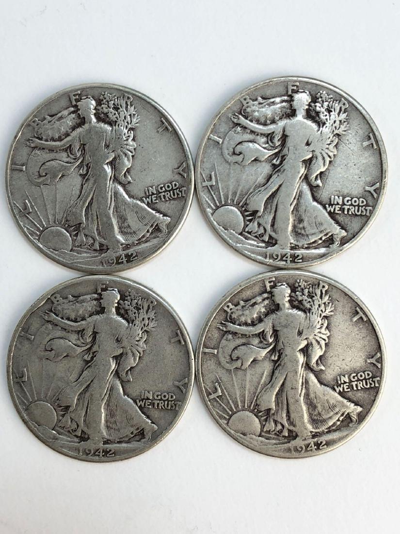 Lot Of Four 1943 Walking Liberty Half Dollars - 3