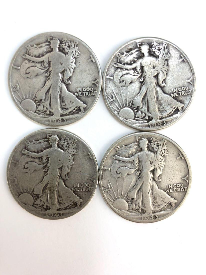 Lot Of Four 1943 Walking Liberty Half Dollar Coins