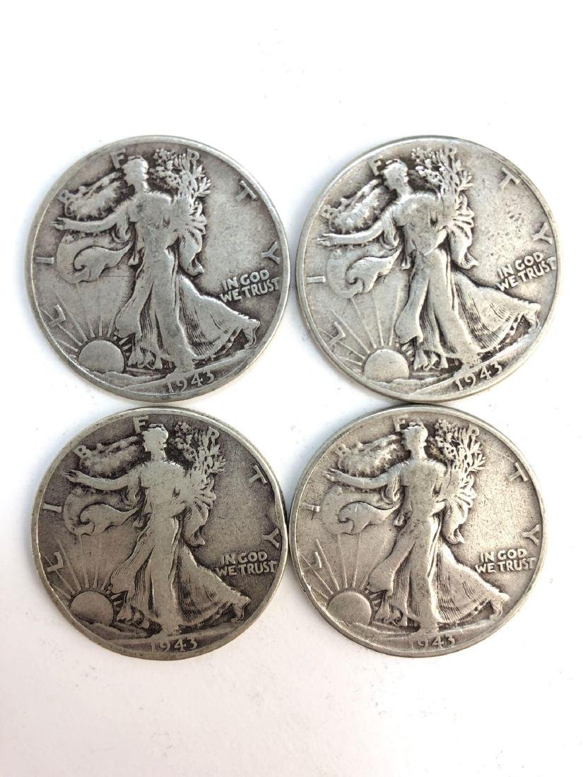 Lot Of Four 1943 Walking Liberty Half Dollar Coins