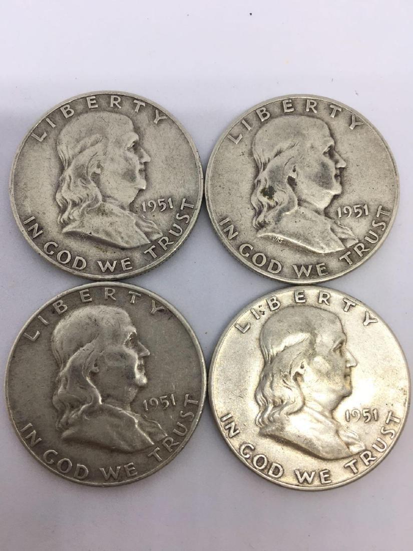 Lot of Four 1951 Franklin Half Dollars