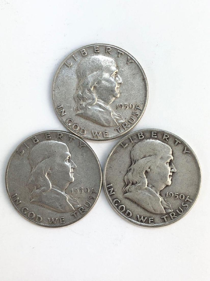 Lot Of Three 1950 Franklin Half Dollar Coins