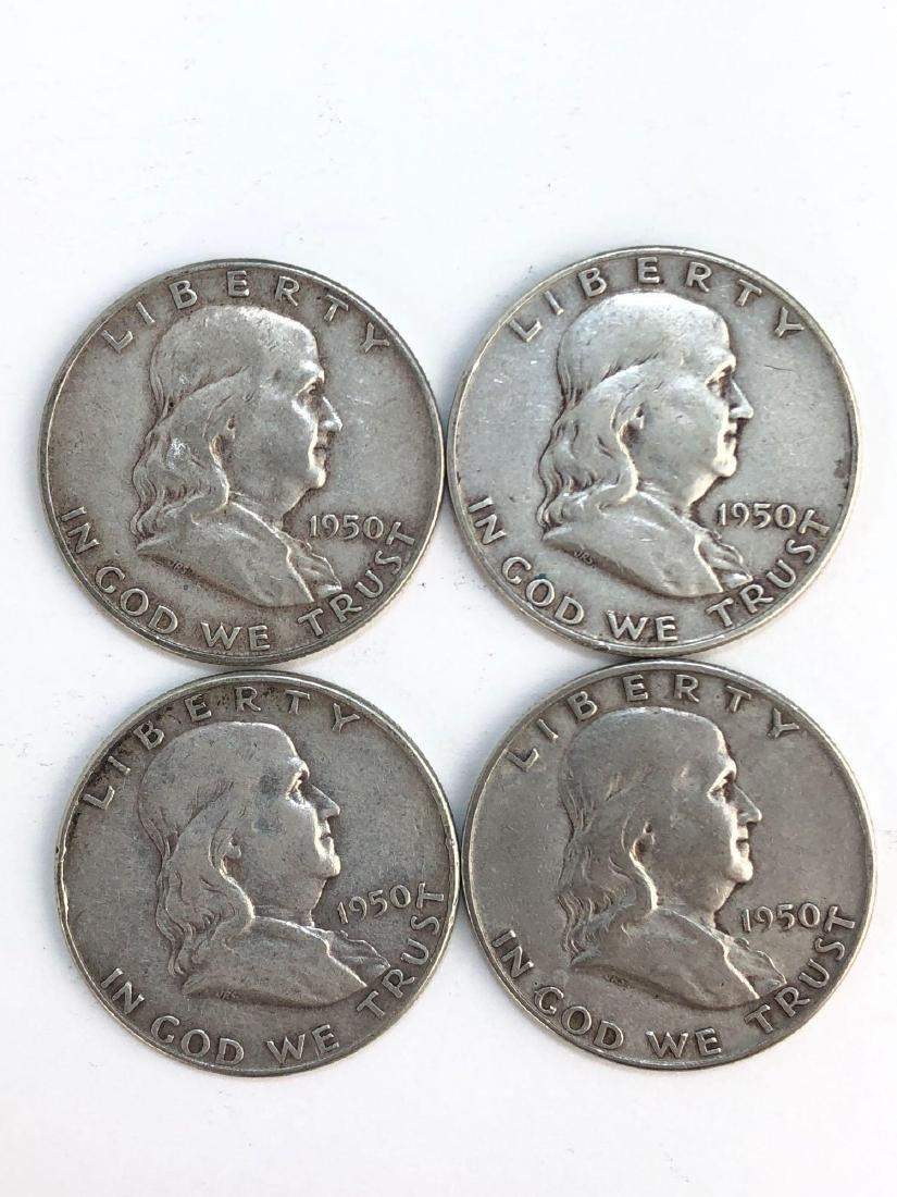 Lot Of Four 1950 Franklin Half Dollar Coins