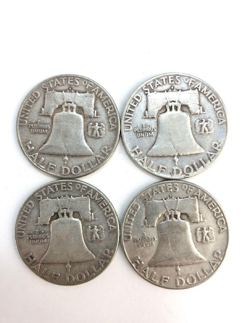 Lot Of Four 1950 Franklin Half Dollar Coins - 2