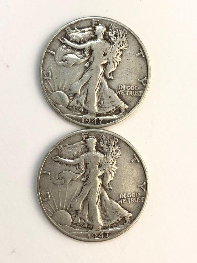 Lot Of Two 1947 Walking Liberty Half Dollar Coins