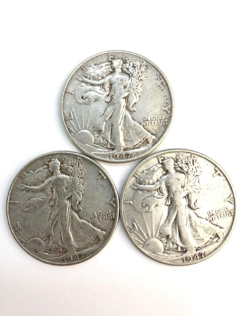 Lot Of Three 1947 Walking Liberty Half Dollar Coins