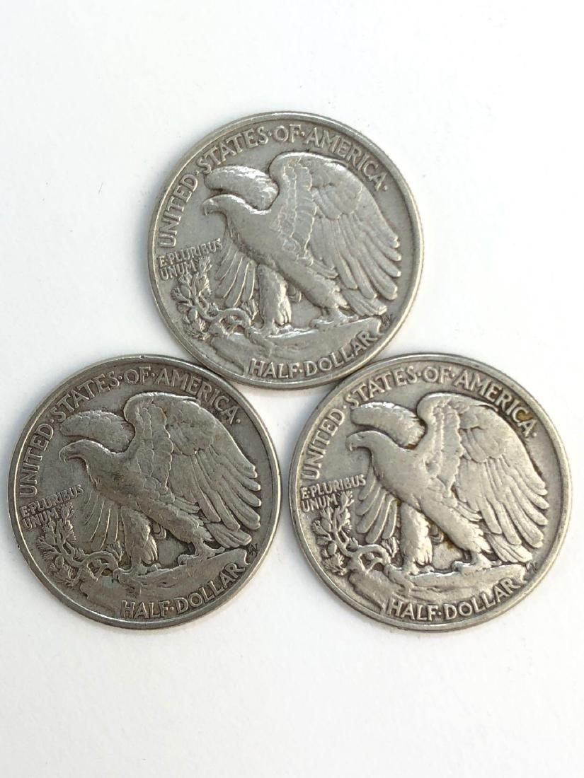 Lot Of Three 1947 Walking Liberty Half Dollar Coins - 2