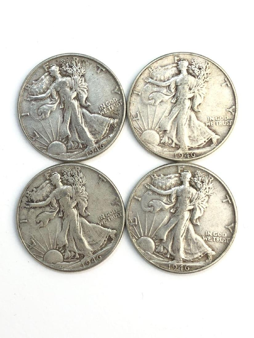 Lot Of Four 1946 Walking Liberty Half Dollar Coins