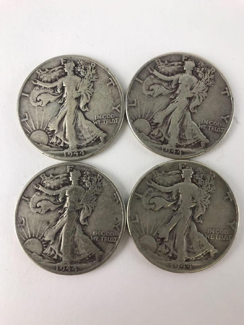 Lot Of Four 1944 Walking Liberty Half Dollar Coins - 2