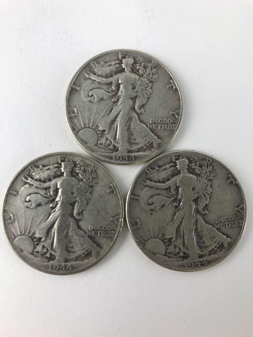 Lot Of Three 1944 Walking Liberty Half Dollar Coins