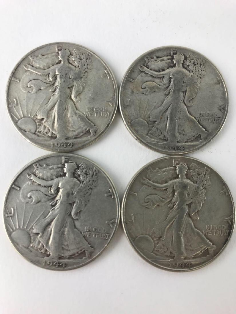 Lot Of Four 1944 Walking Liberty Half Dollar Coins