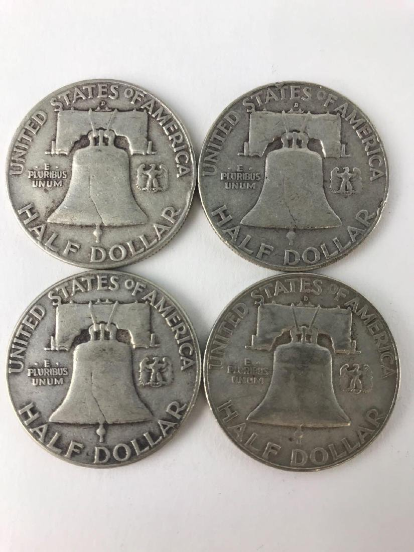 Lot Of Four 1957 Franklin Half Dollar Coins