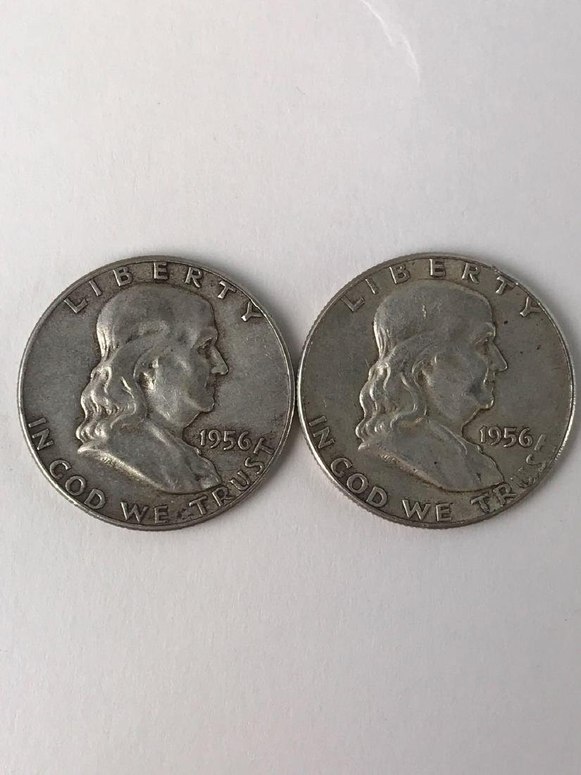 Lot Of Two 1956 Franklin Half Dollar Coins
