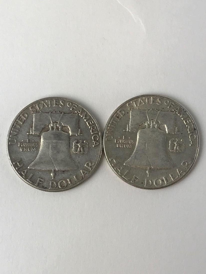 Lot Of Two 1956 Franklin Half Dollar Coins - 2