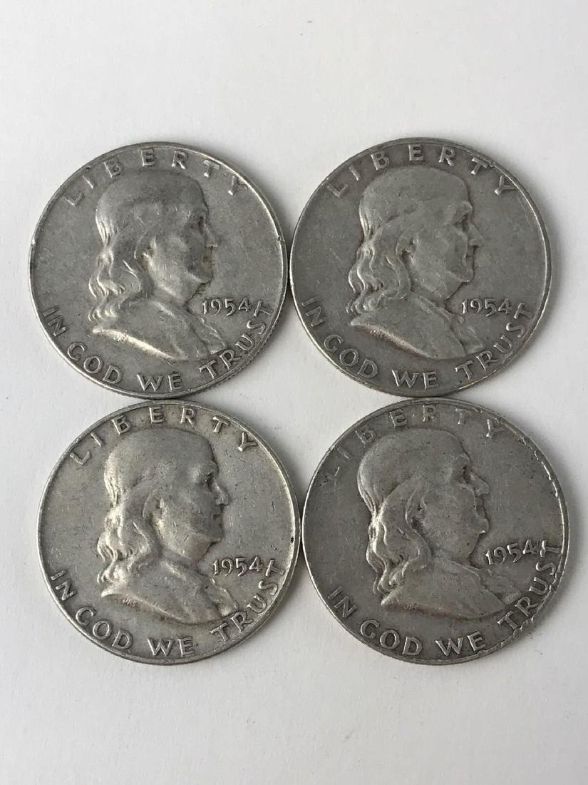 Lot Of Four 1954 Franklin Half Dollar Coins
