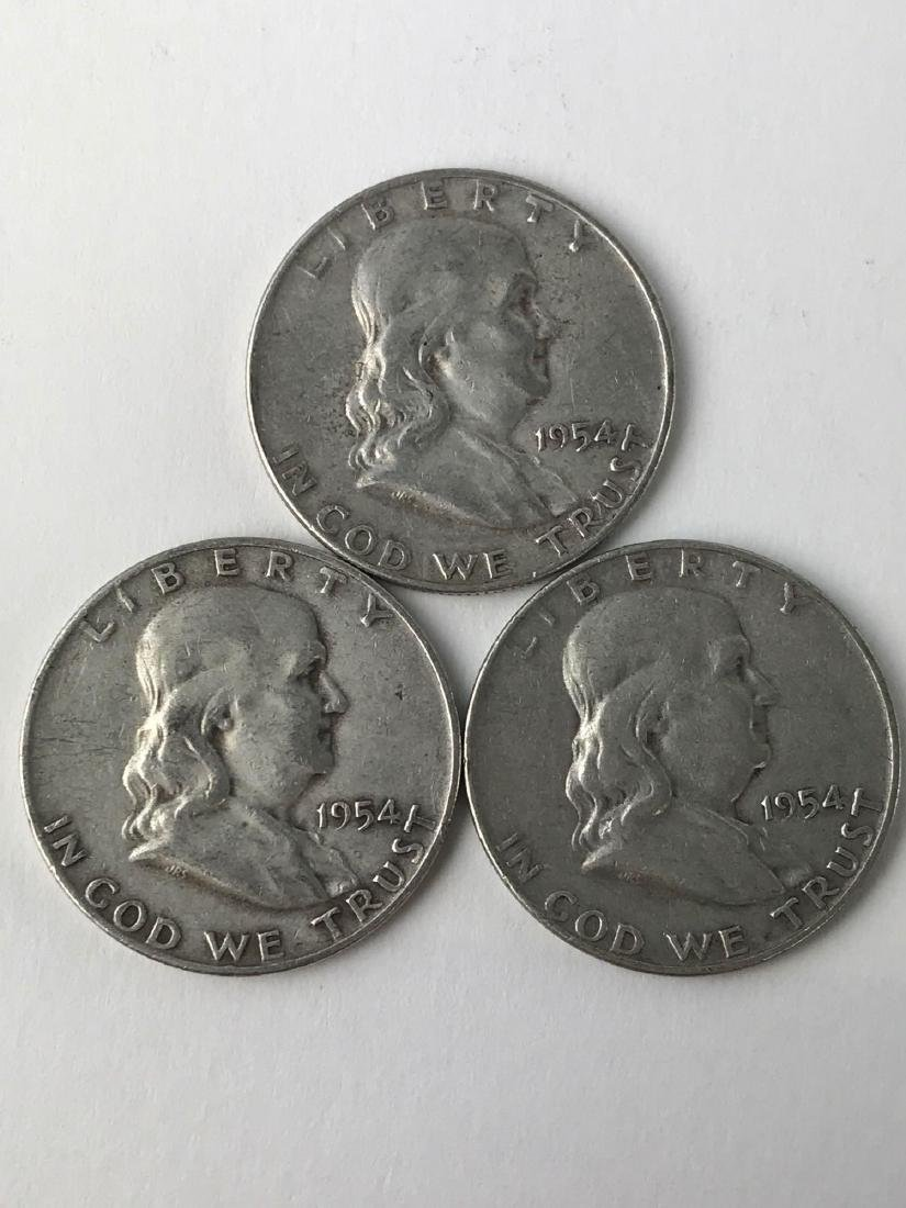 Lot Of Three 1954 Franklin Half Dollar Coins