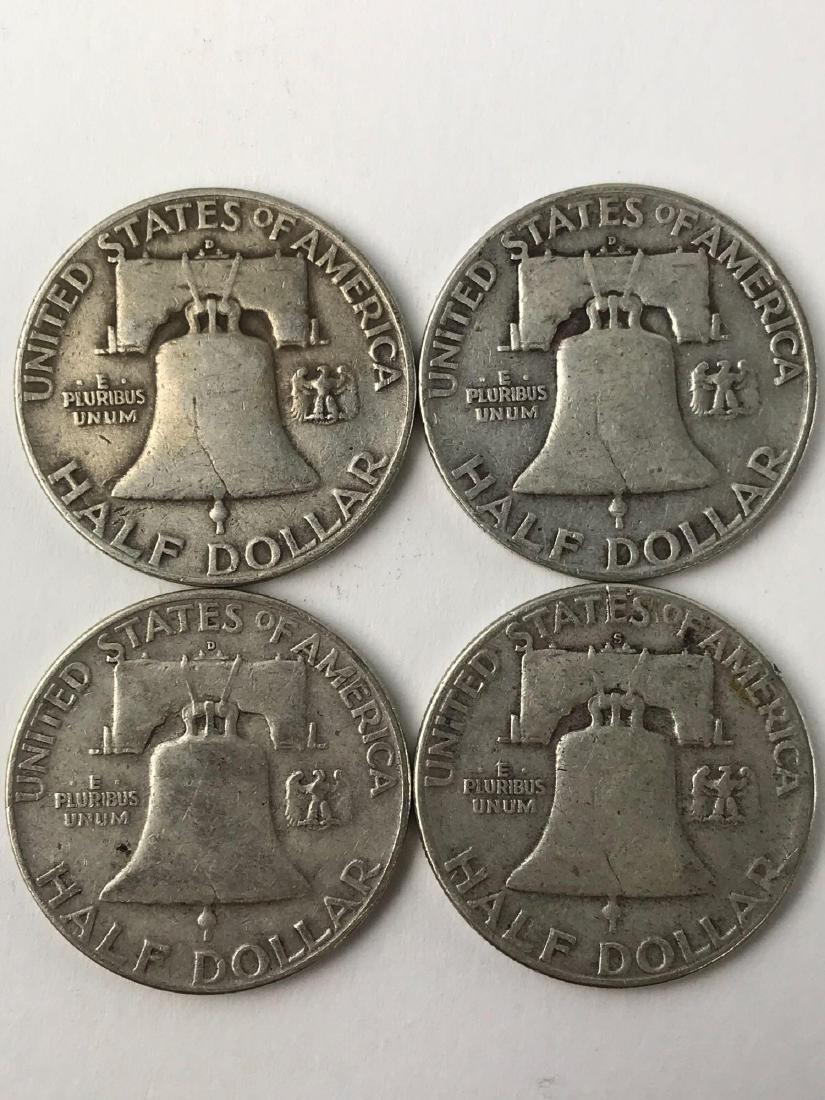 Lot Of Four 1954 Franklin Half Dollar Coins - 2