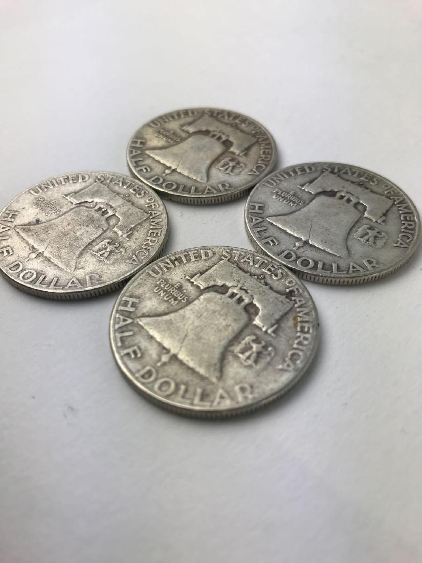 Lot Of Four 1954 Franklin Half Dollar Coins - 3