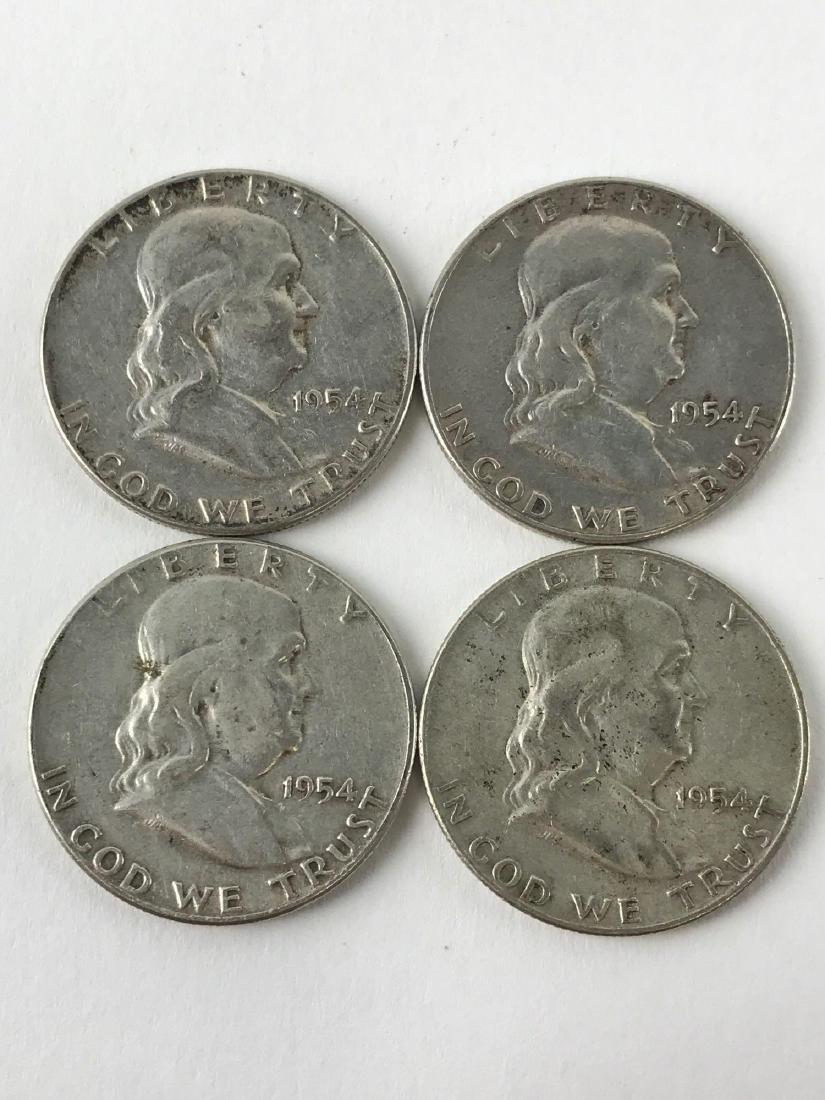 Lot Of Four 1954 Franklin Half Dollar Coins