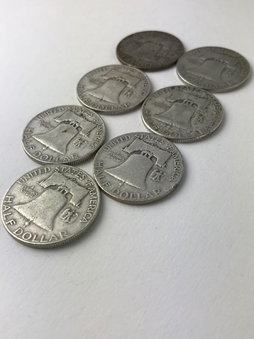 Lot Of Seven 1953 Franklin Half Dollar Coins - 3