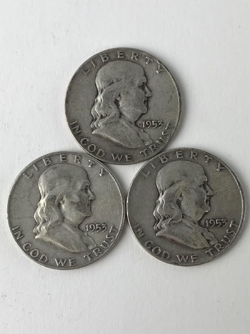 Lot Of Three 1953 Franklin Half Dollar Coins