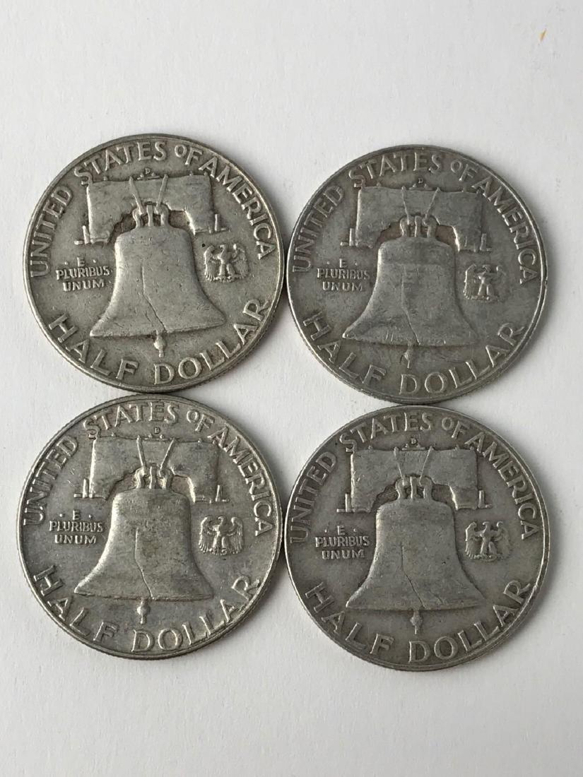 Lot Of Four 1953 Franklin Half Dollar Coins - 2