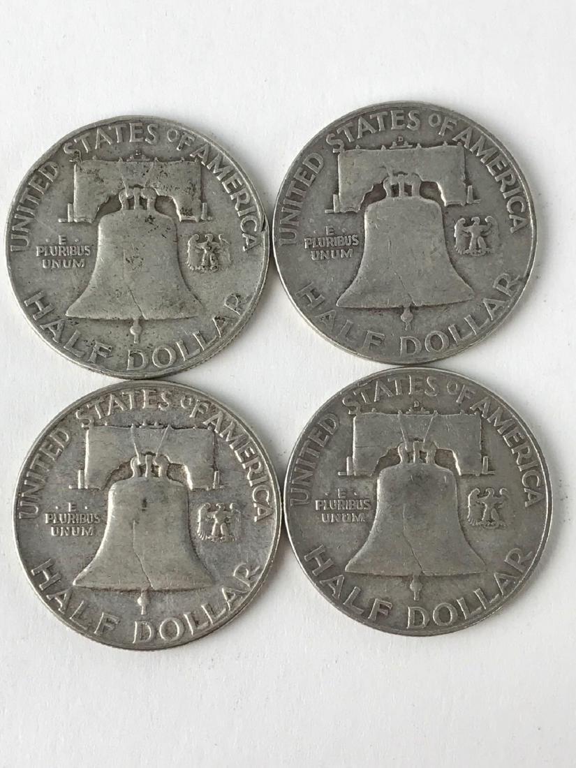 Lot Of Four 1952 Franklin Half Dollar Coins - 2