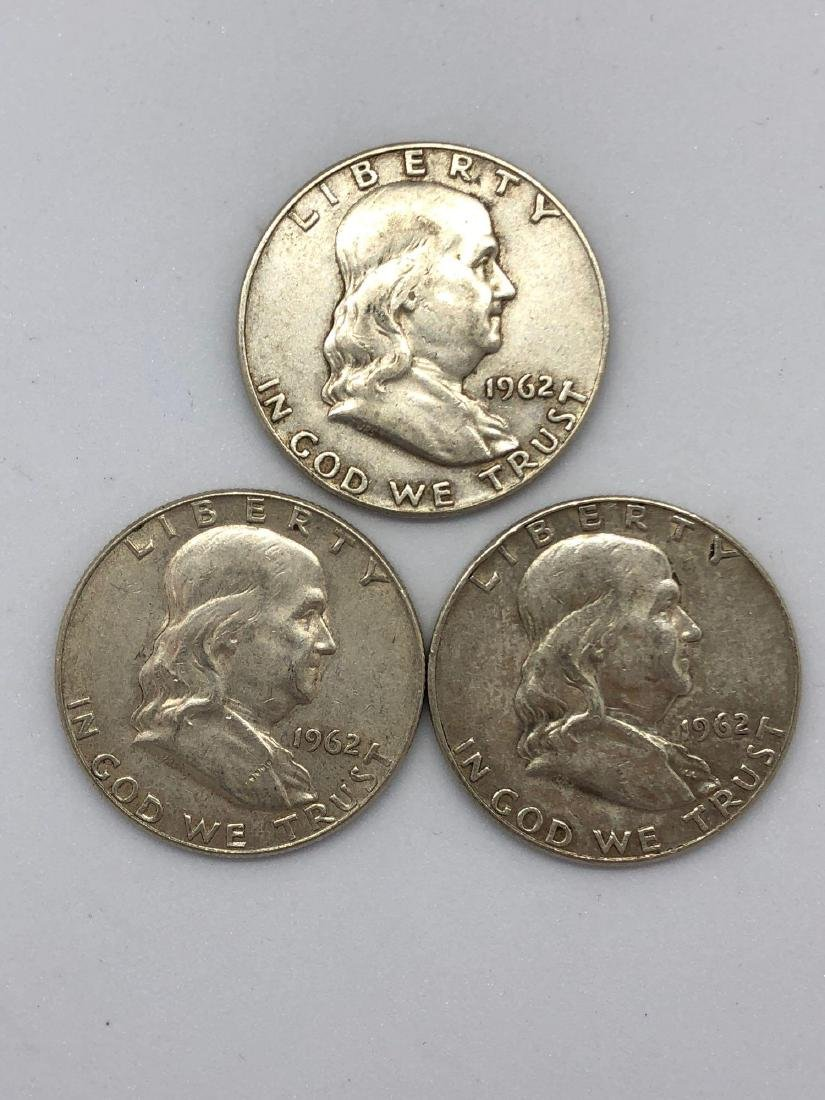 Lot Of Three 1962 Franklin Half Dollar Coins