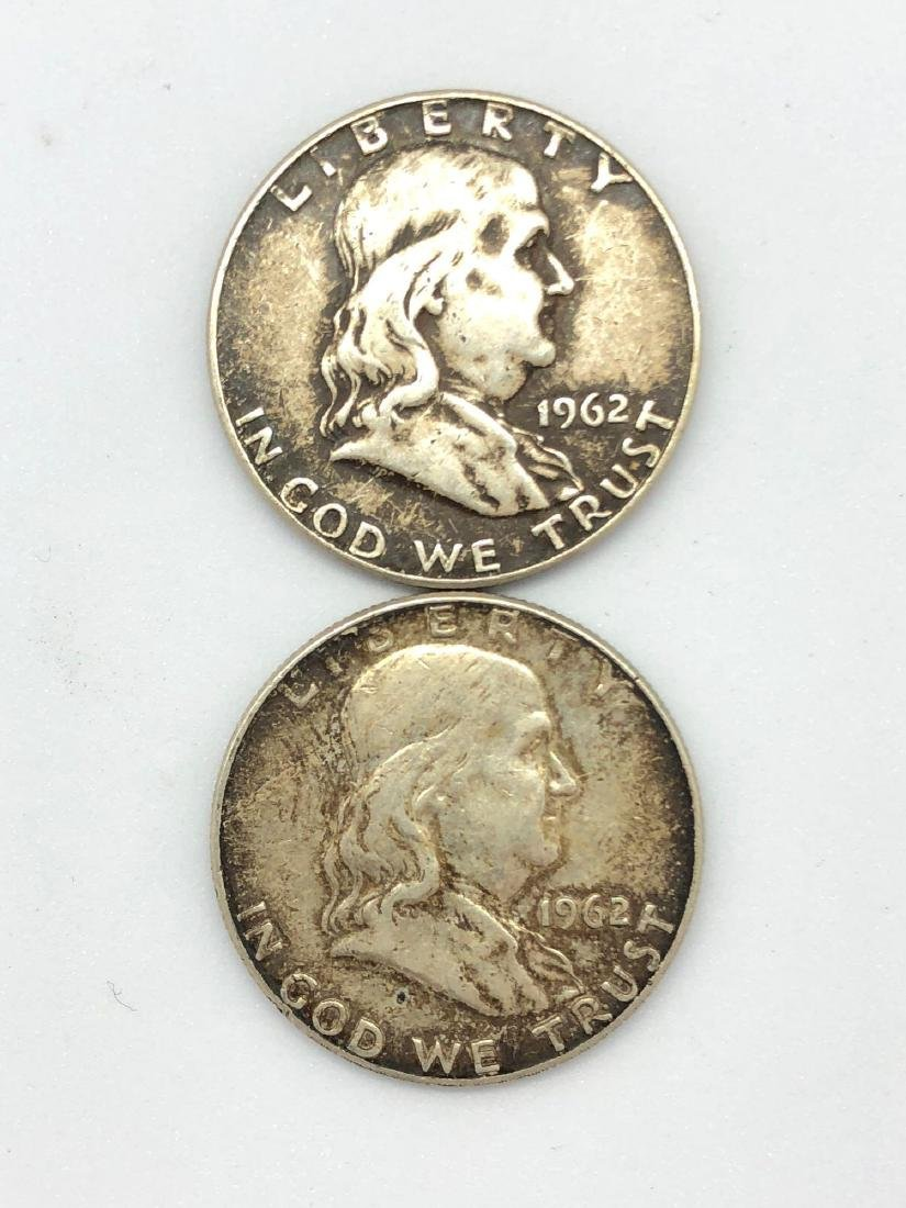 Lot Of Two 1962 Franklin Half Dollar Coins