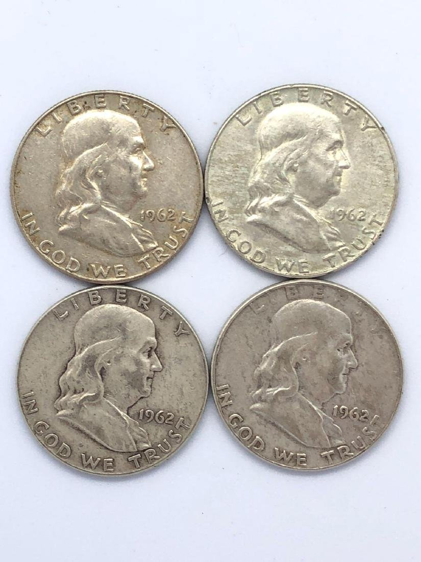 Lot Of Four 1962 Franklin Half Dollar Coins