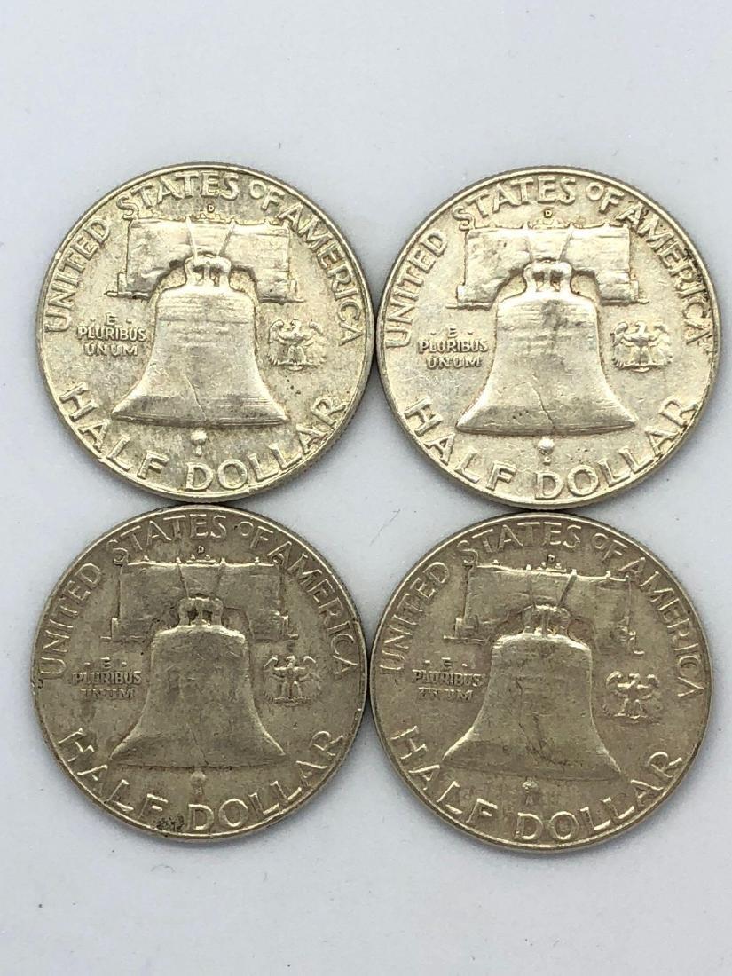 Lot Of Four 1961 Franklin Half Dollar Coins - 2