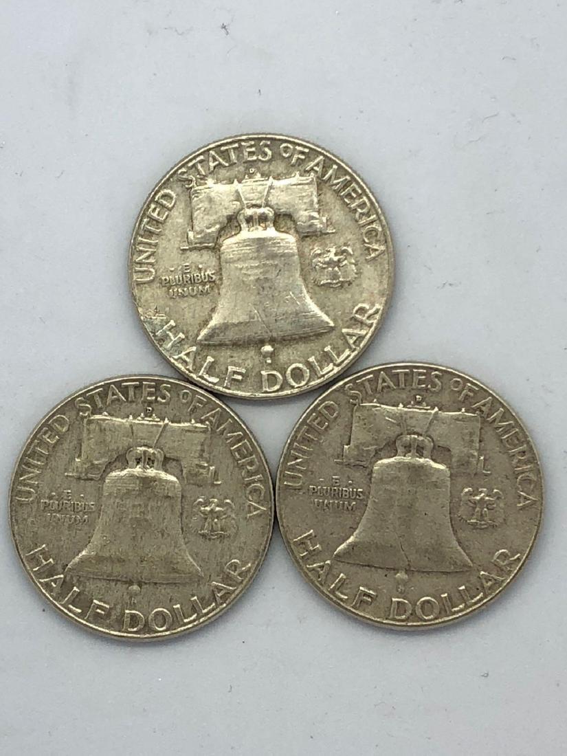 Three 1961 Franklin Half Dollars - 2