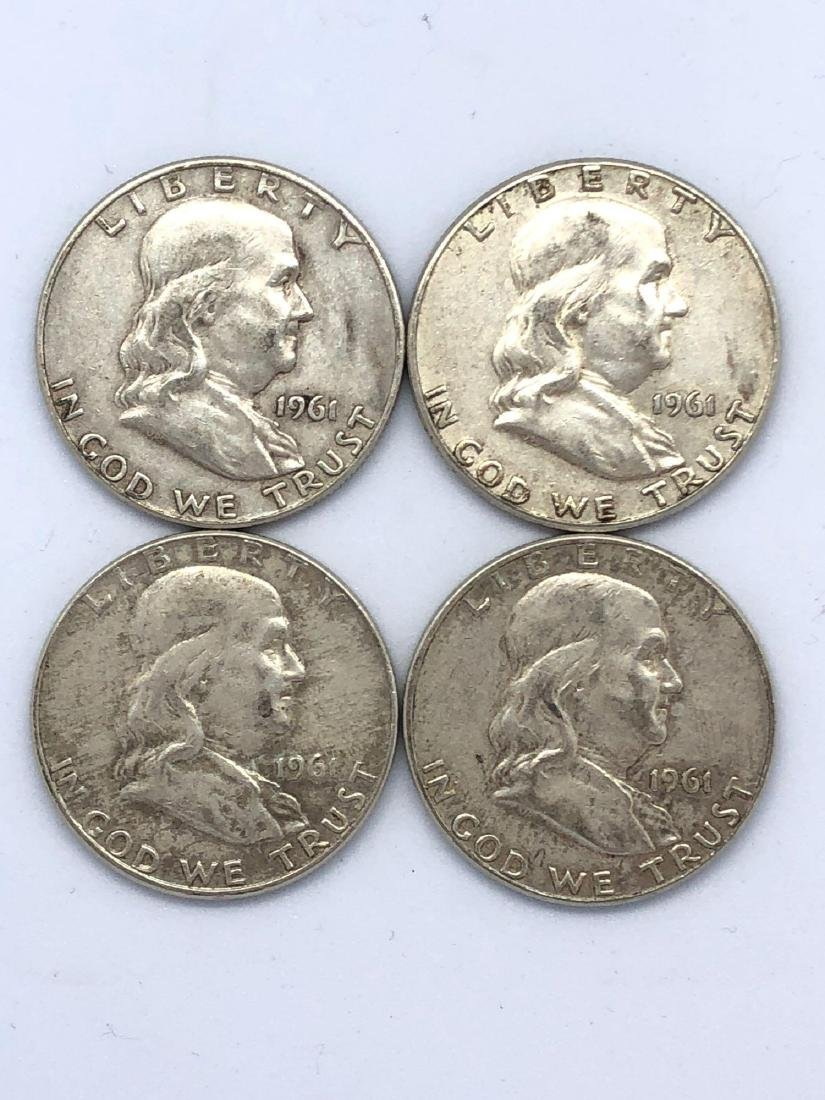 Lot Of Four 1961 Franklin Half Dollar Coins