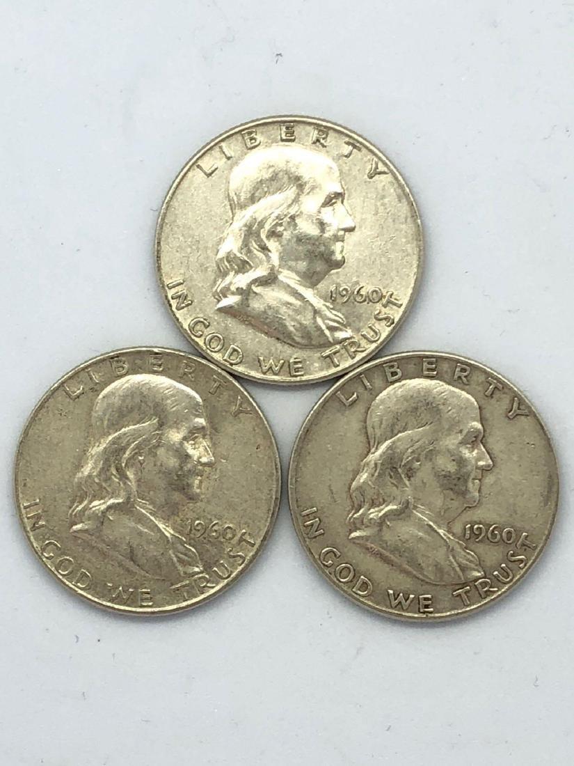 Lot Of Three 1961 Franklin Half Dollar Coins