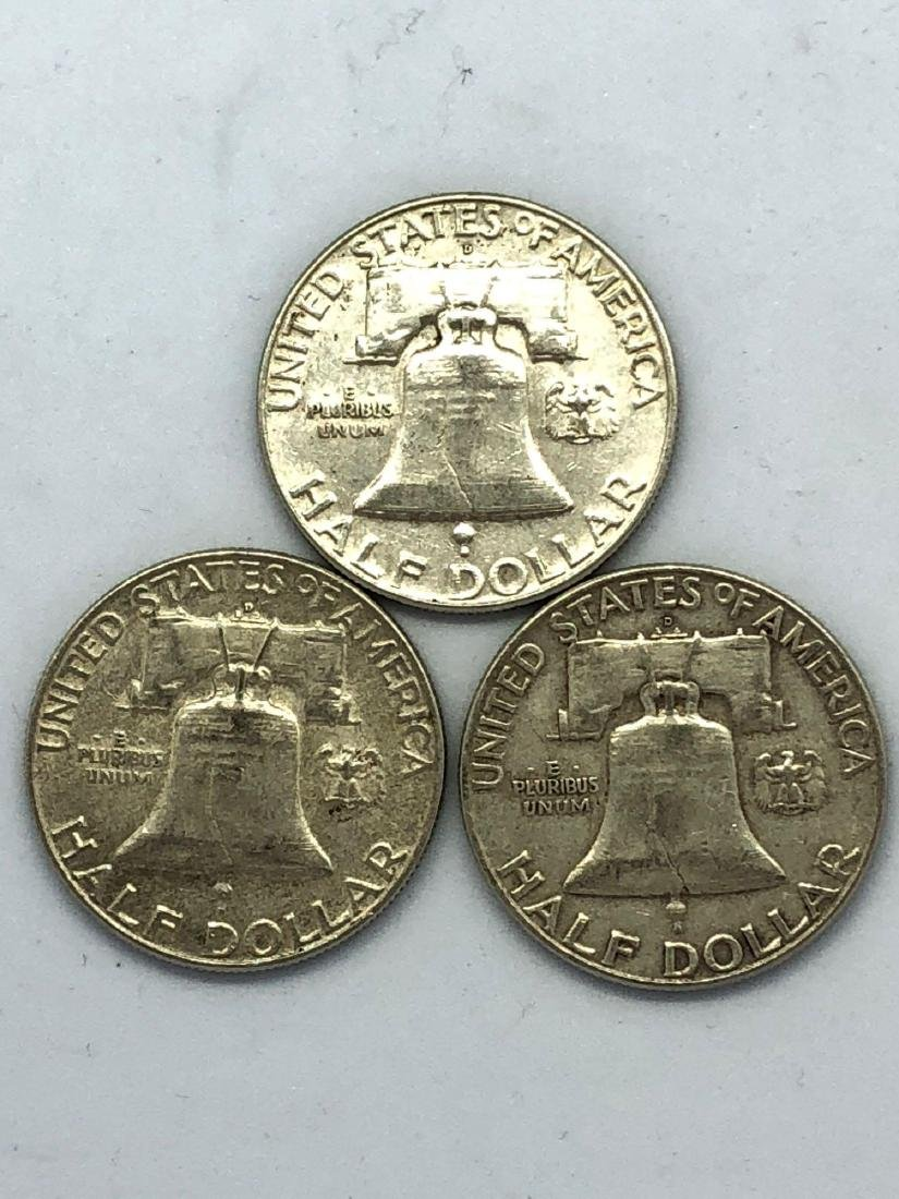 Lot Of Three 1961 Franklin Half Dollar Coins - 2