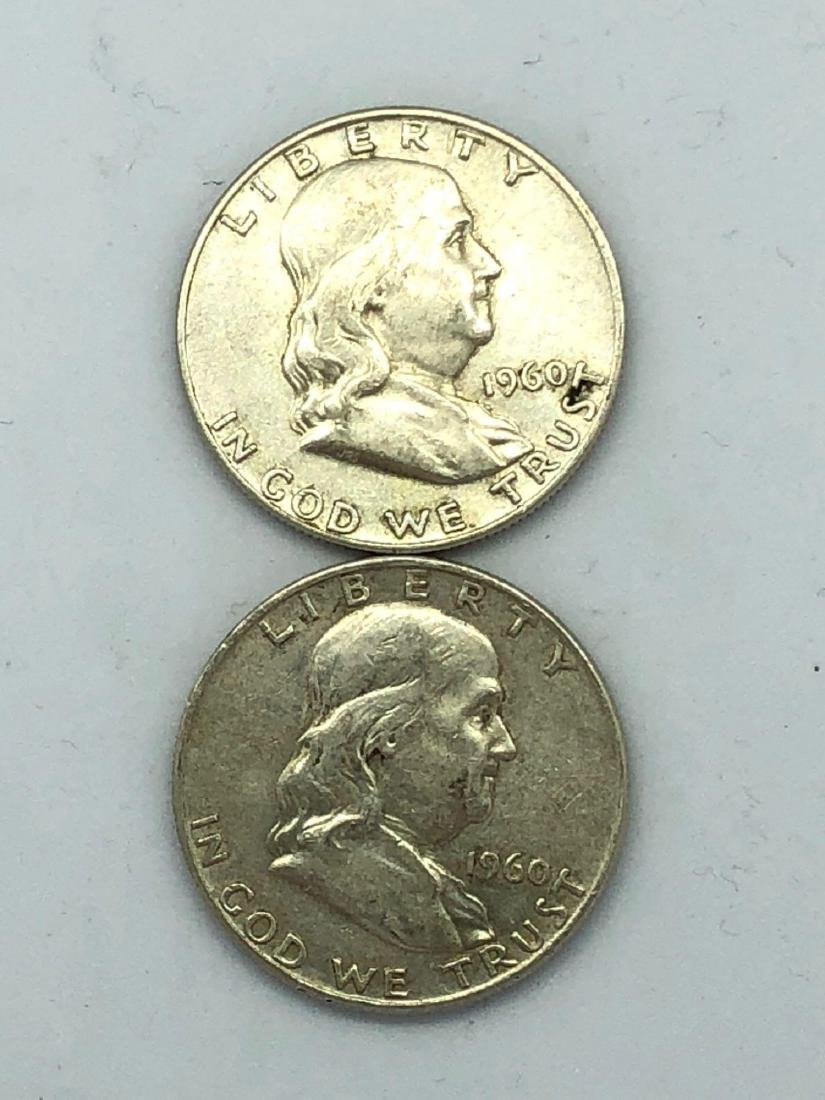 Lot Of Two 1960 Franklin Half Dollar Coins