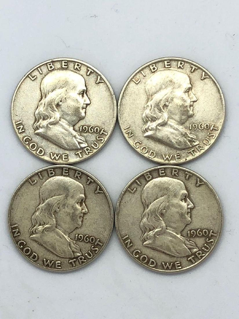 Lot Of Four 1960 Franklin Half Dollar Coins