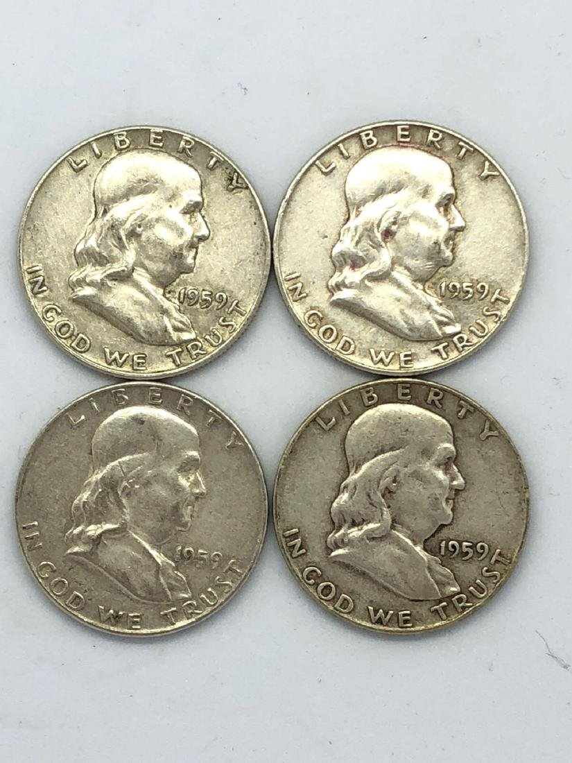 Lot Of Four 1959 Franklin Half Dollar Coins