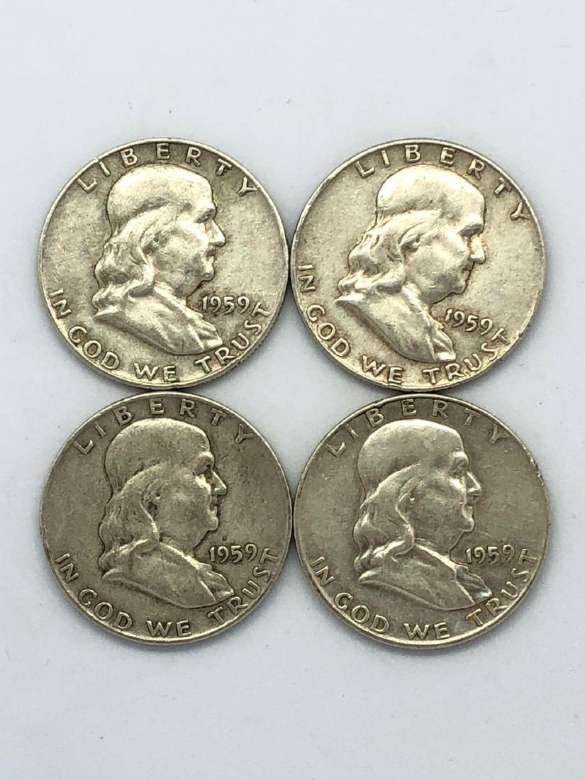 Lot Of Four 1959 Franklin Half Dollar Coins
