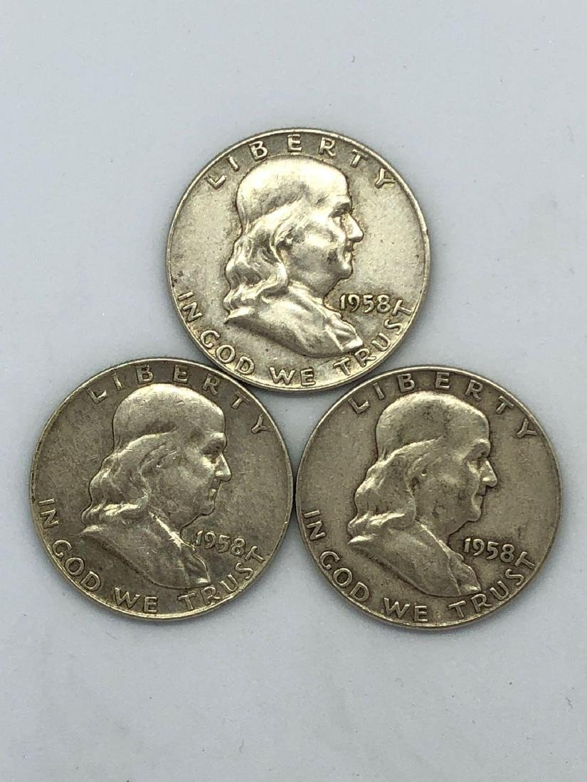 Lot Of Three 1958 Franklin Half Dollar Coins