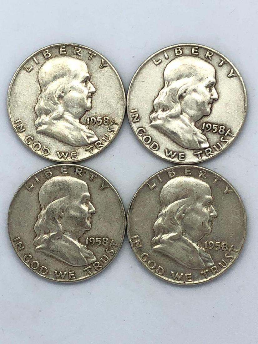 Lot Of Four 1958 Franklin Half Dollar Coins
