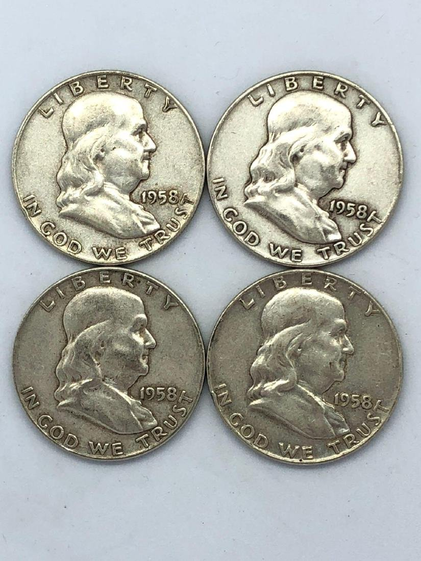 Lot Of Four 1958 Franklin Half Dollar Coins