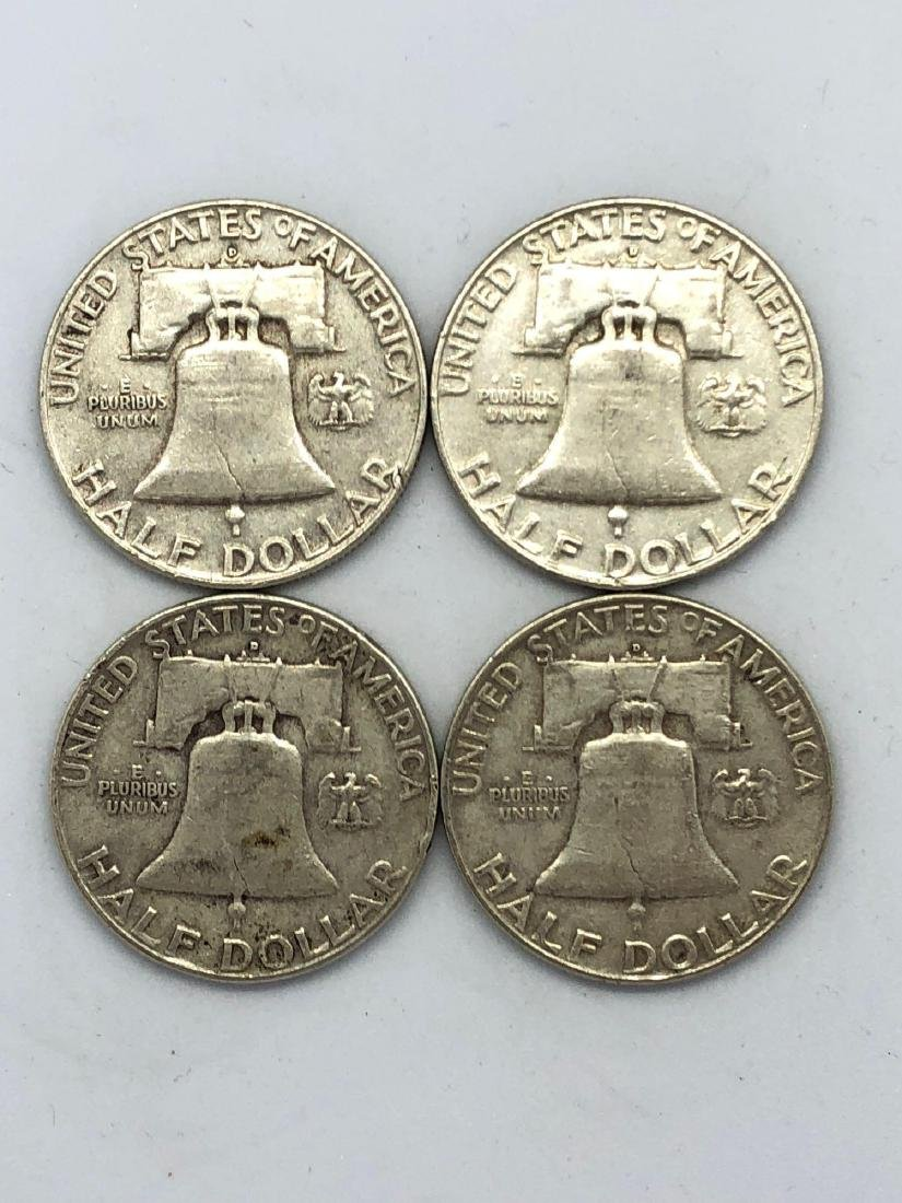 Lot Of Four 1958 Franklin Half Dollar Coins - 2