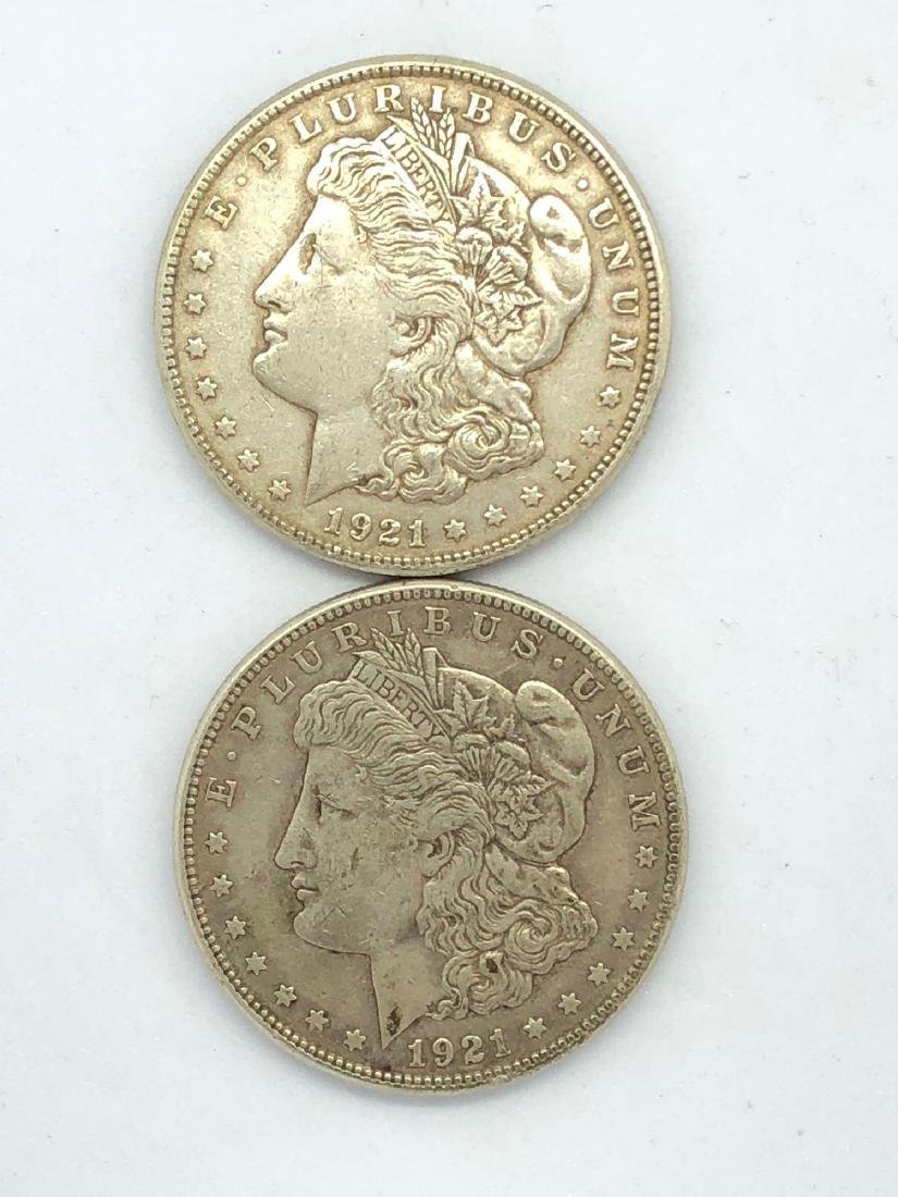 Lot Of Two 1921 Morgan Silver Dollar Coins S-Mint