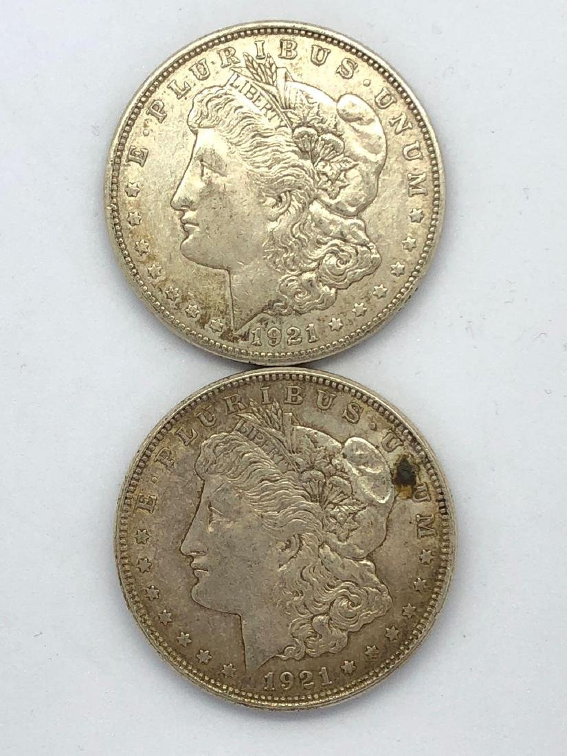 Lot Of Two 1921 Morgan Silver Dollar Coins D-Mint