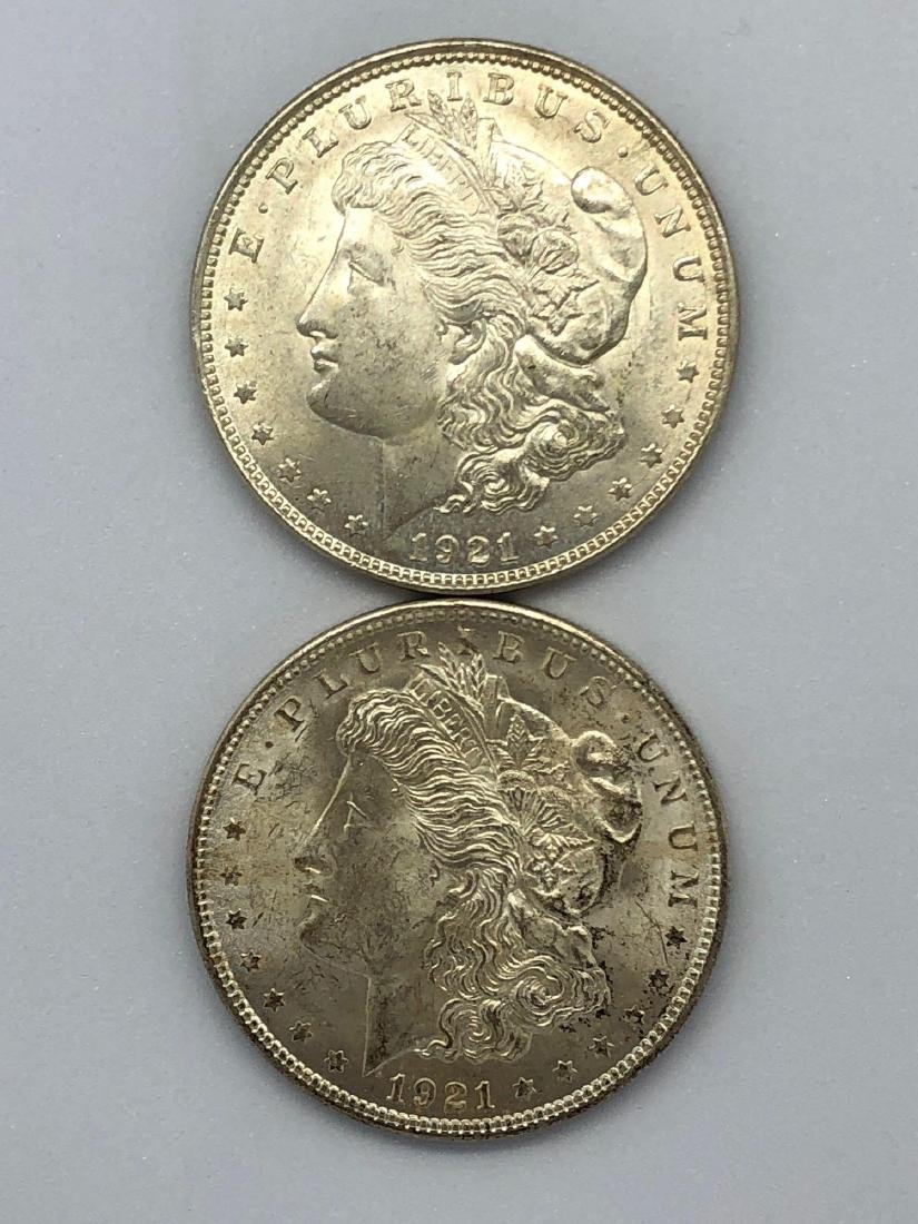 Lot Of Two 1921 Morgan Silver Dollar Coins P-Mint