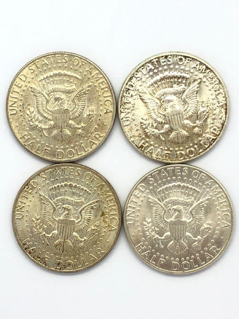 Lot Of Four 1964 Kennedy Half Dollar Coins - 2
