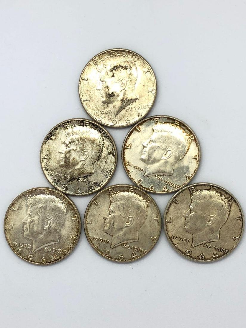 Lot Of Seven 1964 Kennedy Half Dollar Coins