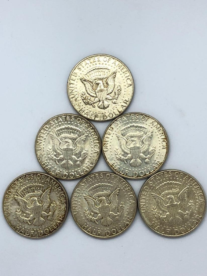 Lot Of Seven 1964 Kennedy Half Dollar Coins - 2